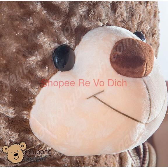 [Hàng Đẹp] Gấu Bông Teddy Bear Mặc Áo Thun, Màu Nâu, Cao 1m8, Khổ 2m, Quà Tặng Đồ Chơi Siêu To Cho Bé.