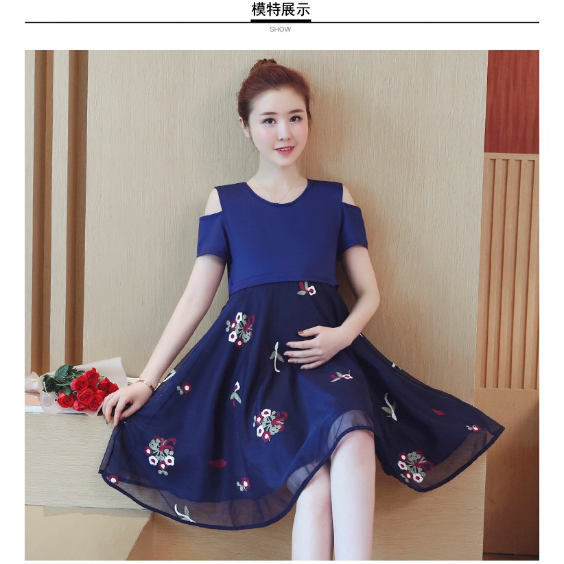 K417 váy bầu, váy cho con ti có có khóa kéo thiết kế hở vai phối ren thời trang