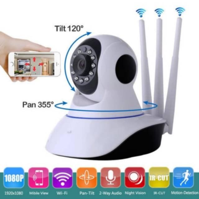 Camera An Ninh Ip Cam Cctv Surveillance Wifi Không Dây Với 3 Ăng Ten Nhìn Ban Đêm