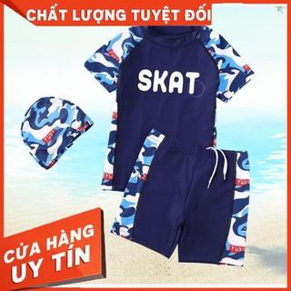 Đồ bơi bé trai tay ngắn quần rời chất vải chống nắng size từ 15kg đến 53kg