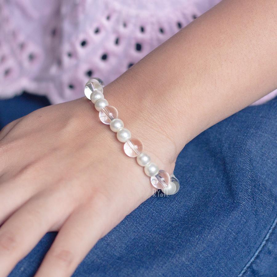 Vòng tay cho bé hạt đá hạt trai cỡ lớn RYA 170261