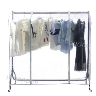 ONE Clear Waterproof Dustproof Zip Clothes Rail Cover Clothing Rack Cover Protector Bag Hanging