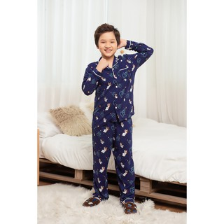 Bộ Pijama lanh bé trai quần dài, áo dài VT B70.2003 - Chất liệu mềm, mặc nhà thoải mái