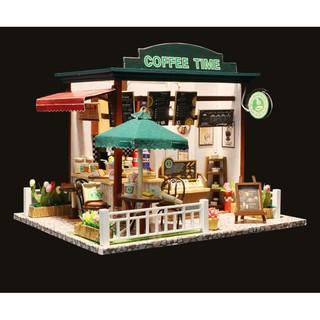 FREESHIP ĐƠN 99K_Mô hình nhà búp bê gỗ – Coffee Time – quán cafe thời gian