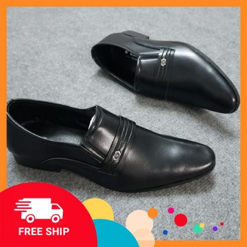 Giày da nam ⚡️SHOPEE TRỢ GIÁ⚡️ không dây, mũi cong lịch lãm, Giày tây nam công sở kết hợp quần âu kaki đi chơi, dự tiệc