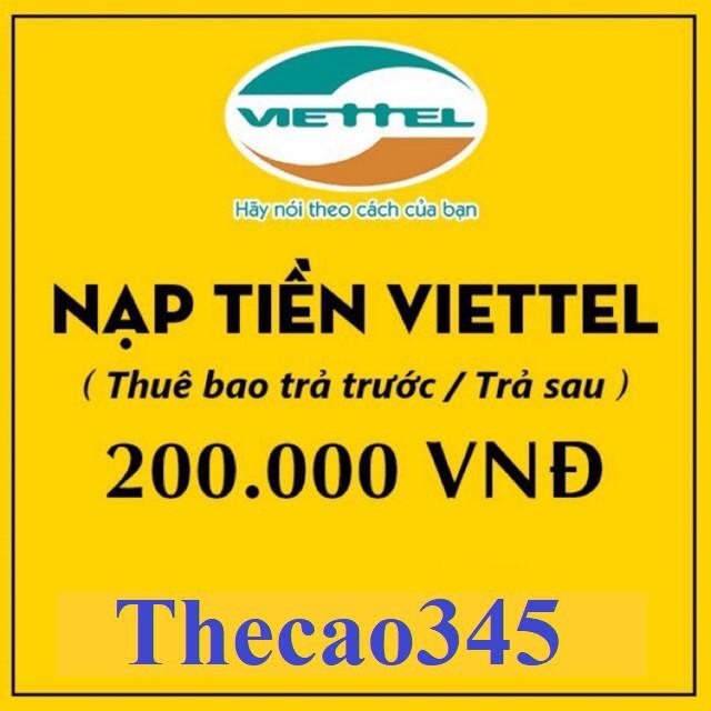 Thẻ cào điện thoại viettel 200k rẻ