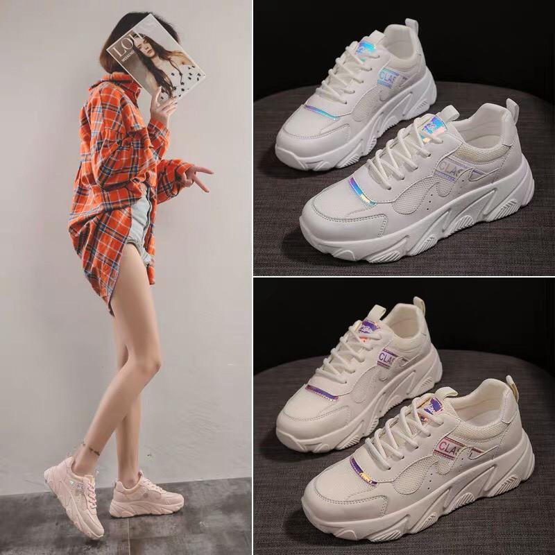 Giày thể thao nữ SSIL 3 màu trắng, kem & hồng, chất da phối lưới, đế độn tăng chiều cao, phong cách hàn quốc, dễ phối đồ