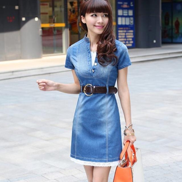 Đầm jean thun nữ xếp ly cổ tròn phối ren