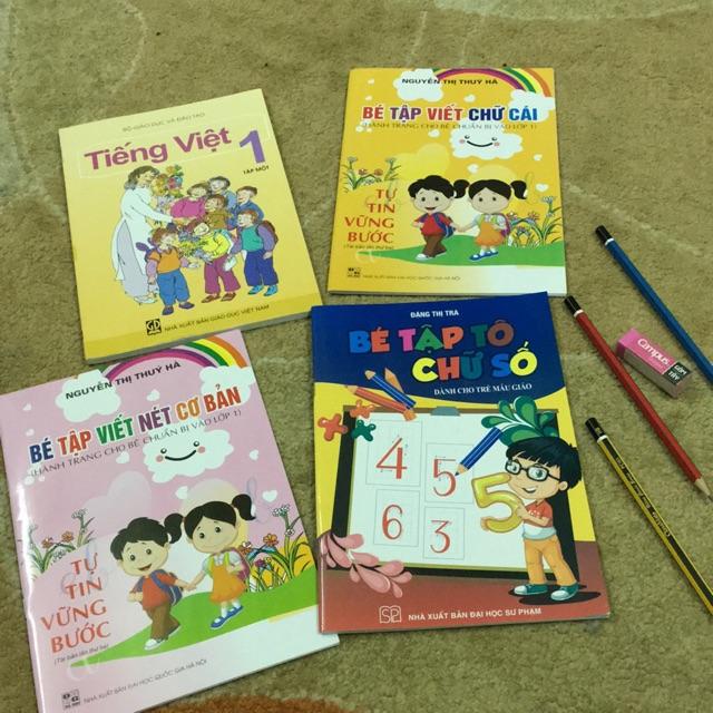 Sách - combo 4 cuốn chuẩn bị cho bé vào lớp 1 Tiếng việt và tâọ tô chữ( sách + 3 cây bút chì và tẩy