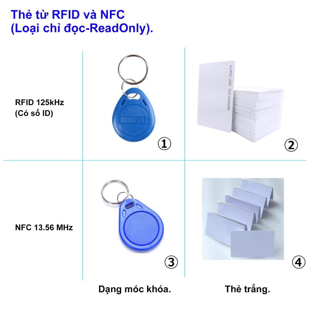 [ID cố định, không trùng, không copy đc] Thẻ cảm ứng từ RFID 125kHz và NFC 13.56MHz (Thẻ nhân viên, thang máy, gửi xe)