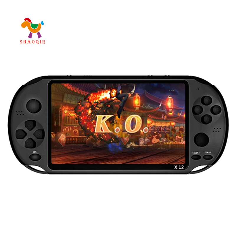 X12 5.1 Inch Handheld Game Video Player Game Consoles 8G with Double Rocker Support TF Card(Black)