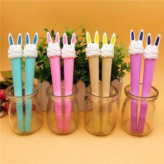 B145 bút kem tai thỏ kem đầu ngựa bút dễ thương viết gel màu xanh