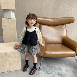 Bộ váy công chúa 2 món kiểu tay dài sọc ca rô thời trang phong cách Hàn Quốc cho bé gái