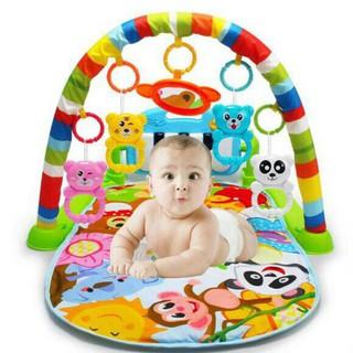(Sỉ) Thảm nằm chơi nhạc hình thú ngộ nghĩnh cho bé hình chú khỉ – Chân màu xanh lá