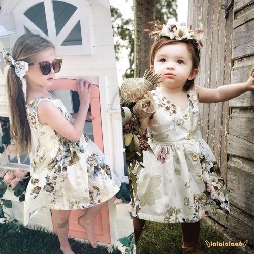 Đầm công chúa không tay in hoa phối hàng nút đơn giản đáng yêu cho bé gái
