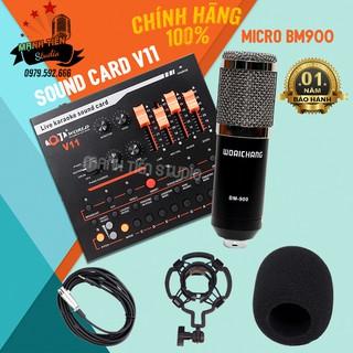 Bộ thu âm Livestream soundcard V11 và mirco BM900 cực hay