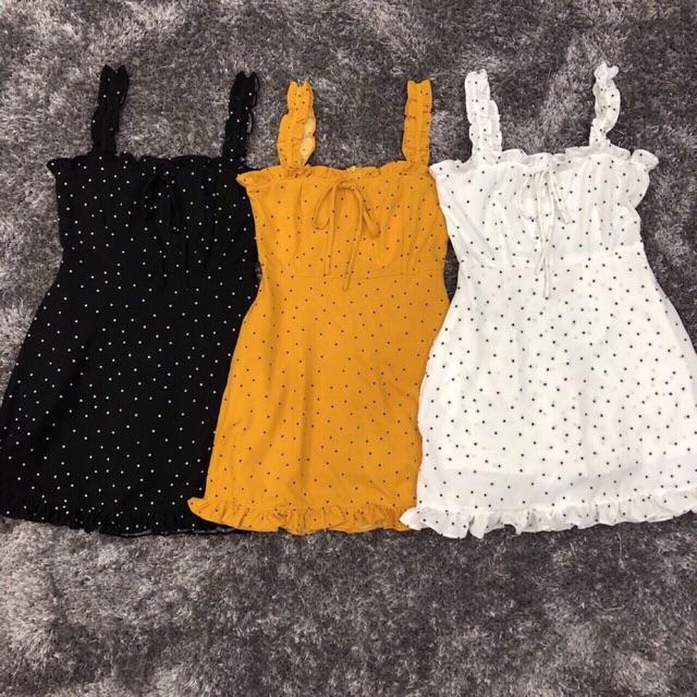 Combo váy chấm bi cánh tiên và áo trễ vai