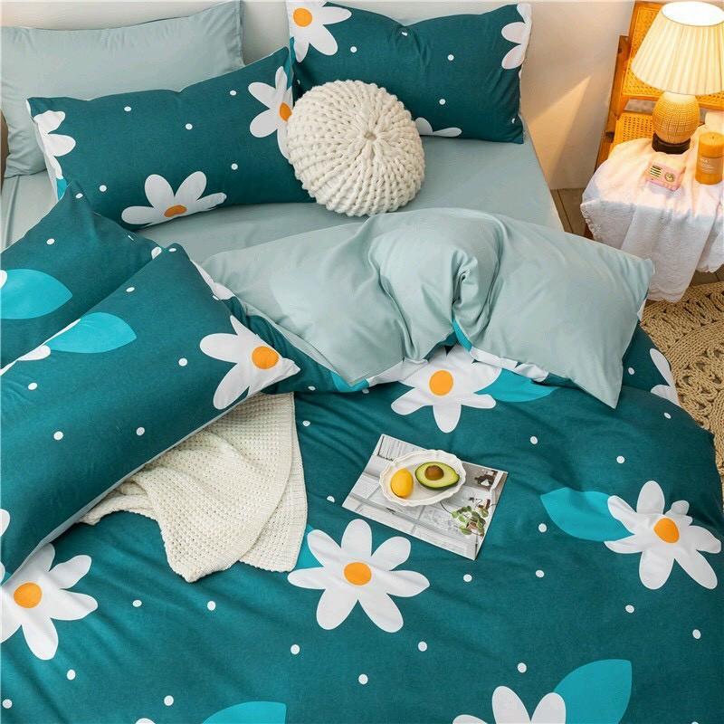 Bộ Chăn Ga Cotton Poly  - Mẫu hoa trắng xanh