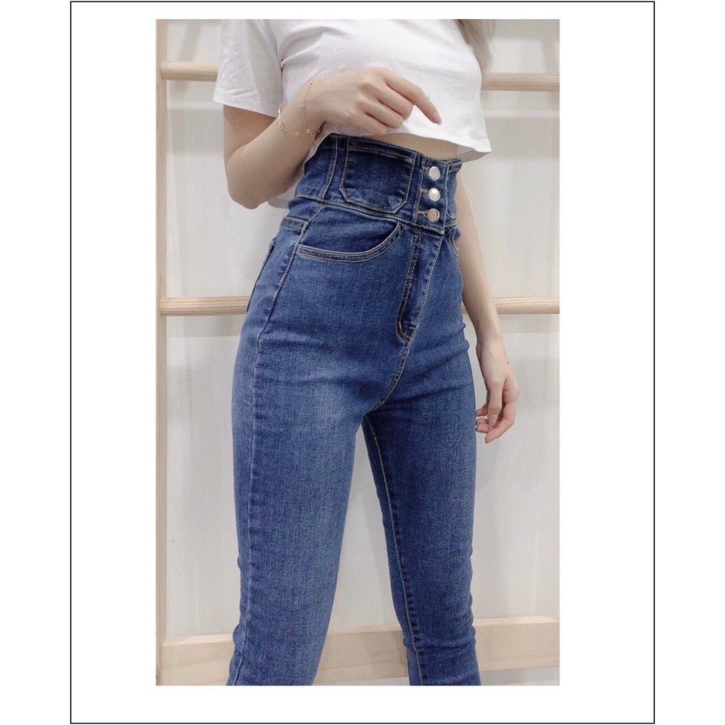 Quần jean nữ lưng siêu cao phối 3 CÚC TRƯỚC ( CÓ SIZE ĐẠI ) màu xanh - xám siêu hot 333- 185 / 6