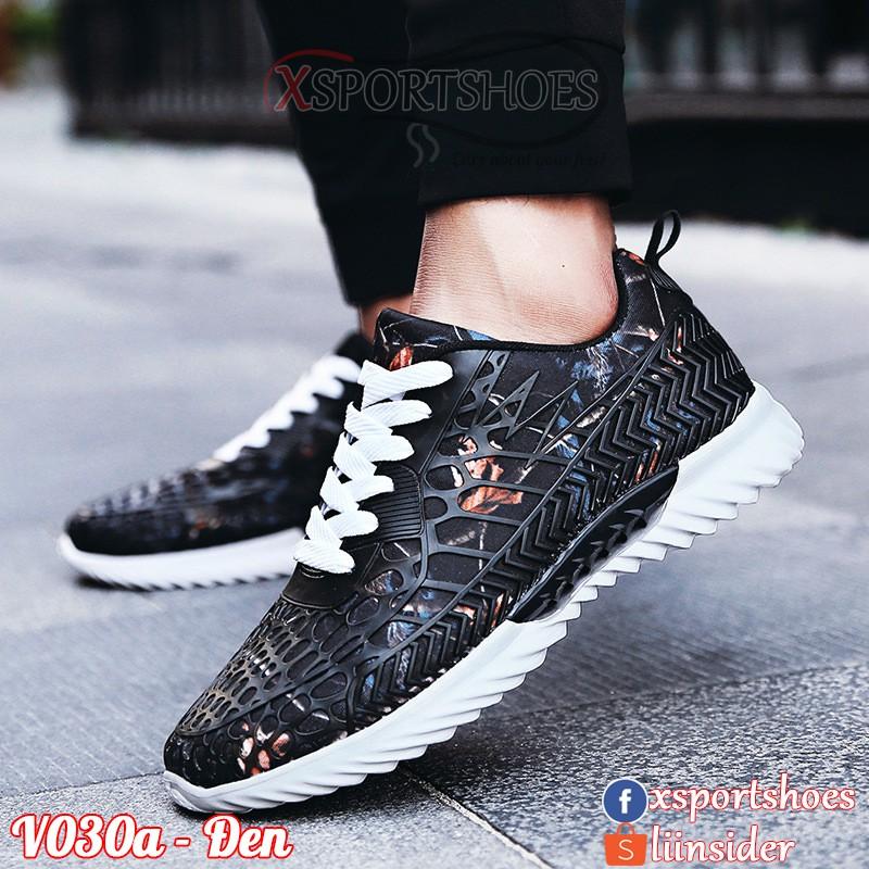 [ORDER] Giày thể thao nam V030a cao cấp - Giày sneaker nam phối lưới vải thoáng khí cao cấp màu đen