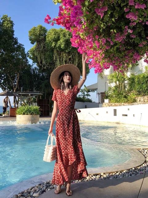 [ HOT 2021 ] [ẢNH THẬT] Váy maxi boho cổ V lệch tà cột eo đuôi tôm siêu xinh chất mát mang đi du lịch, đi chơi ORDER QUẢ