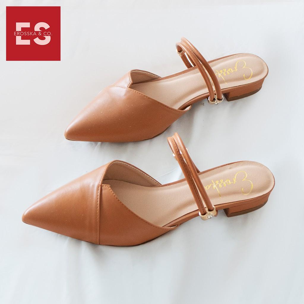 Giày Bít Mũi Phối Dây Thời Trang Erosska EL004 - Màu Vàng Bò