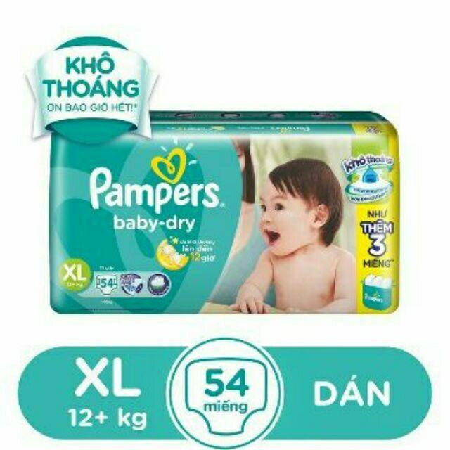 Bỉm Tả Dán Pamper baby dry size XL 54 Miếng