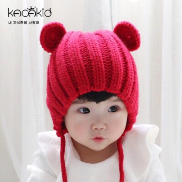 Mũ len tai gấu 3 màu cho bé