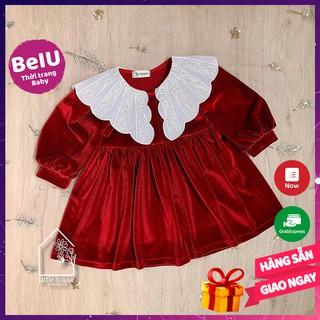 Váy công chúa, váy nhung đỏ bé gái BEIU014 đầm bé gái cổ trắng cánh tiên dễ thương đồ tết cho bé diện du xuân năm mới