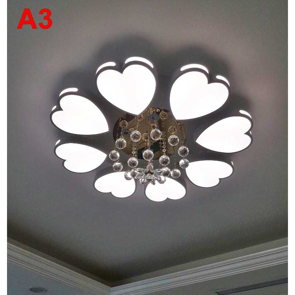 Đèn ốp trần led trang trí phòng khách A4 kiểu mẫu hiện đại,ánh sáng led 3 chế độ,có điều khiển từ xa