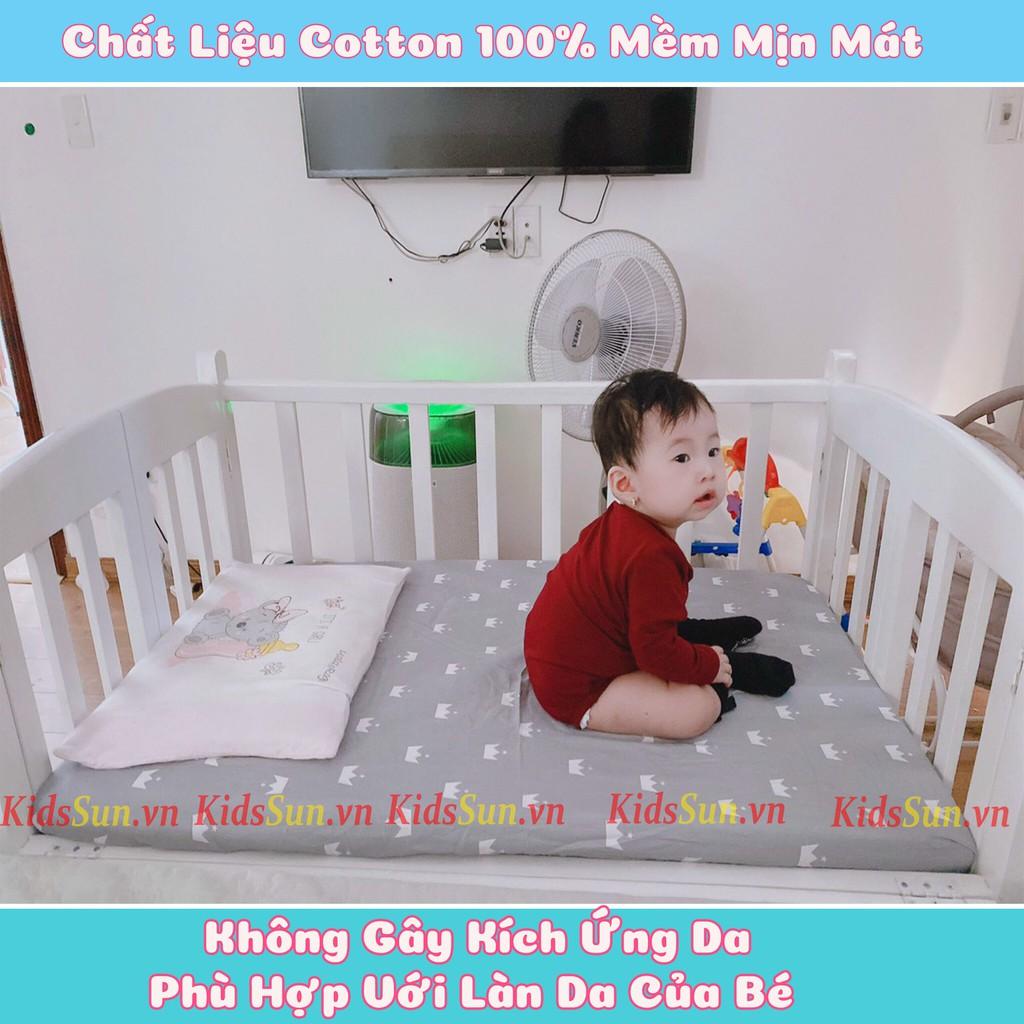Bộ sản Phẩm Ga Chun Bọc Đệm Cotton 100%, Đệm Bông Ép Dày 5cm Và Ga Chống Thấm Cho Cũi Trẻ Em