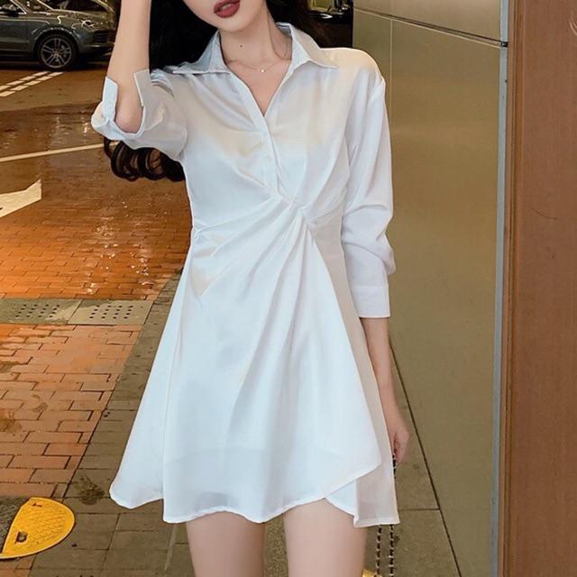 order] Váy sơ mi xoắn eo mặc đi làm đi học   Shopee Việt Nam