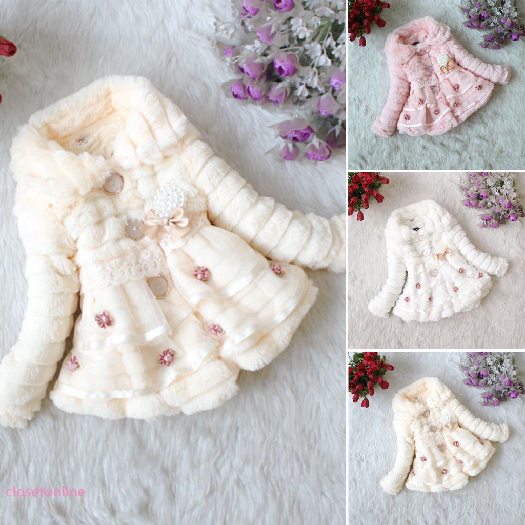 Áo khoác lông thú giữ ấm thời trang cho bé