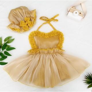 Body Váy Yếm Vàng TẶNG KÈM MŨ Cho Bé Gái size 0 đến 3 (4kg đến 13kg)