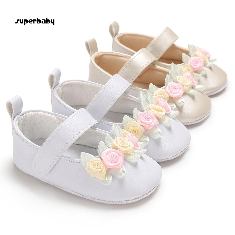SBaby-Fashion Infant Baby Kid Girl Flower Decor Soft Sole Prewalker Toddler Shoes Gift