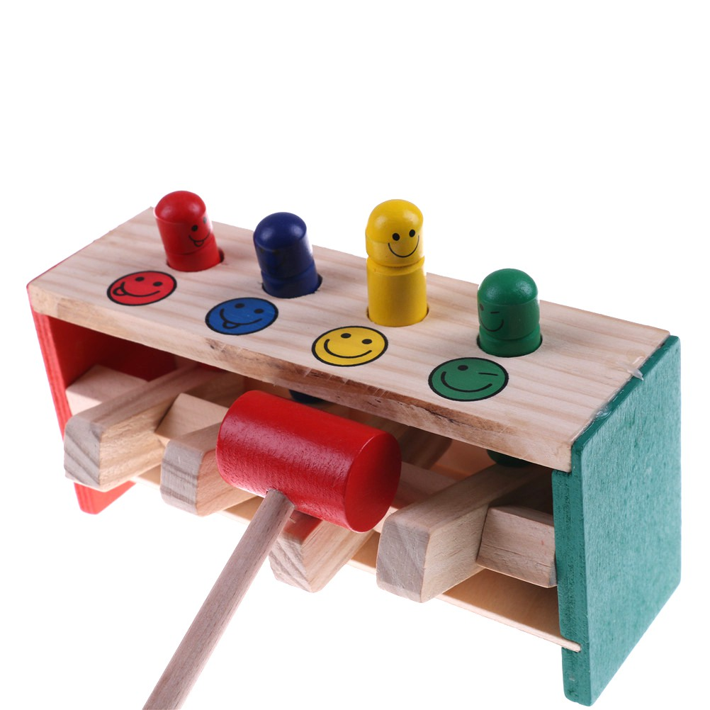 [HO&OFF] Baby Wooden Hammer Toys Child Musical Instrument Educational Wooden Toy
