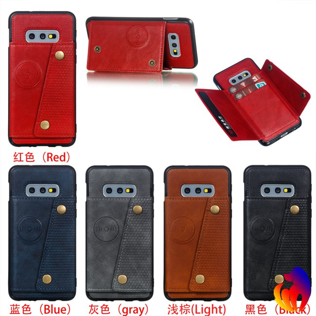 For Samsung S10 E Double Buckle Phone Case Protective Cover with Card Holder