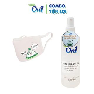 Combo 1 chai dung dịch rửa tay khô On1 250ml hương Bamboo Charcoal 1 khẩu trang On1 kháng khuẩn