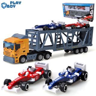 Children 1pc Container Truck Model + 2pcs Mini Race Car Toys Simulation Alloy Car Model Random Color