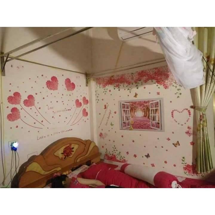 Decal dán tường bộ tình yêu hồng