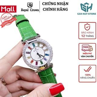 Hàng Xịn Đồng hồ nữ đẹp dây da , đồng hồ nữ chính hãng ROYAL CROWN mặt đính đá 12 màu - Bảo hành 12 tháng thumbnail
