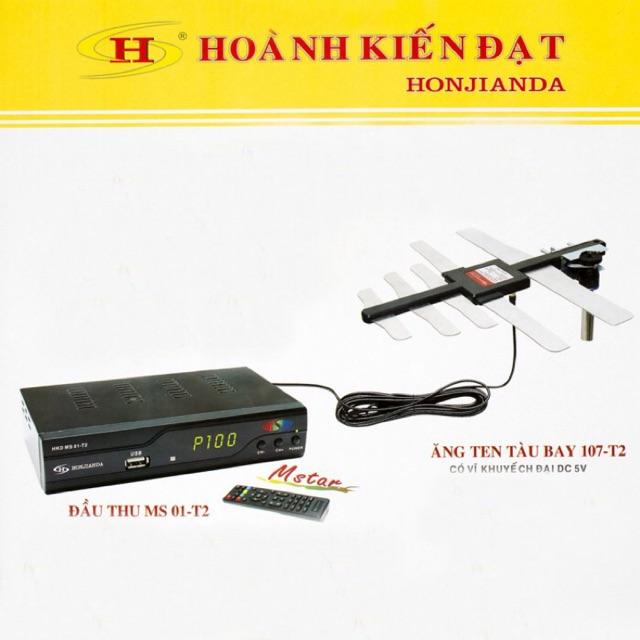 [SALE 10%] Combo đầu thu truyền hình mặt đất MS01 + Anten Tàu bay chính hãng Công ty Hoành Kiến Đạt