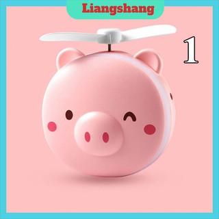 Quạt Mini Cầm TayFREESHIPQuạt Mini Hình Con Lợn Có Gương Đèn (kèm sạc)