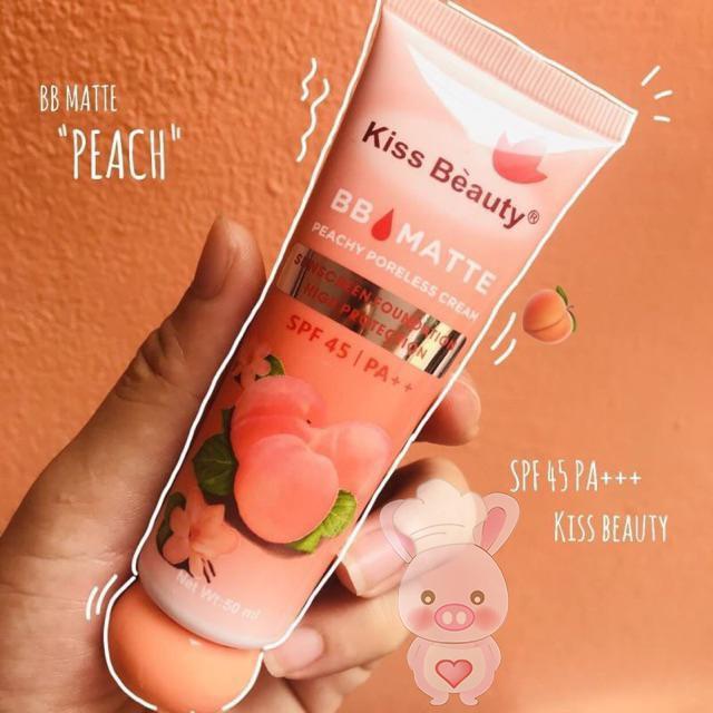 Kem Nền Che Khuyết Điểm BB Matte, Kiềm Dầu, Chống Nắng SPF45IPA++ Peachy Poreless Cream Kiss Befauty-Z12-B1T2