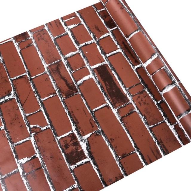 10m giấy dán tường gạch đỏ 3d sẵn keo 45cm – Giấy dán tường