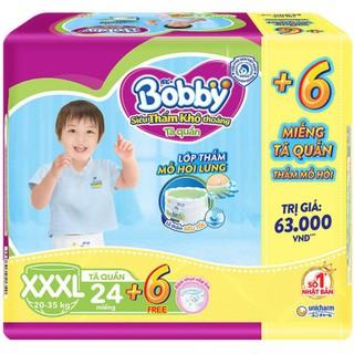 (Tặng thêm 6 miếng)Tã quần Bobby XXXL 24 miếng (20-35kg)