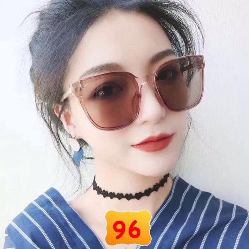 Kính Mát Nữ Thời Trang Gọng V Vàng Màu Nâu Tây N14 - Kính Mắt Nữ Cao Cấp