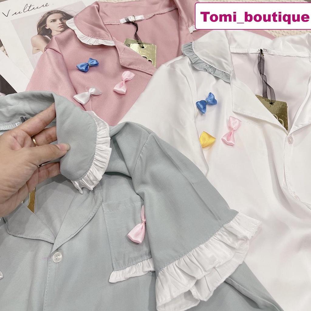 Mặc gì đẹp: Gọn tiện với Set bộ đồ ngủ lụa tiểu thư bánh bèo, đồ mặc ở nhà siêu xinh- Tomi