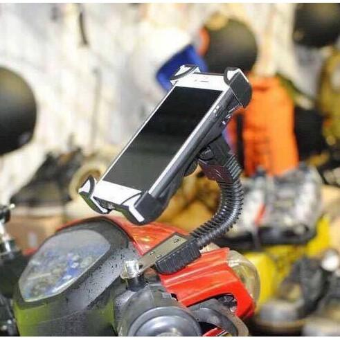 Gía đỡ điện thoại xe máy gắn chân kính xe