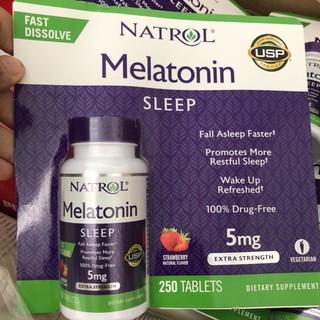 Melatonin Sleep 5mg điều hoà giấc ngủ vị dâu, 250 viên
